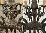 Matching Pair Of Antique Vintage 8 Arms Brass And Crystals Cherub Chandelier Lamp