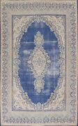 Antique Navy Blue Geometric Kirman Hand-knotted Area Rug Classic Oriental 9and039x12and039