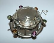 Rare Victorian Silver Scottish Huge Rock Crystal And Foiled Crystal Brooch Beauty
