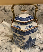 Oriental Teapot Blue And White With Brass Handle