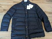 1740 Mens Authentic Moncler Baudier Button Front Puffer Jacket Navy 7 Us 3xl