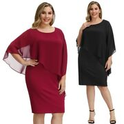 Clubwear Dress Cocktail Women's Plus Size Capelet Decorated Bodycon Evening