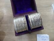 A Boxed Pair Of Antique Victorian Sterling Silver Napkin Rings Birmingham 1878.