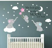 Family Elephant Wall Baby Nursery Decor Kids Room Wall Stickers Lovely Decals