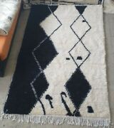 Moroccan Rug Berber Area From Atlas Mountains Black Design For Your Home Decor