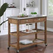 Kitchen Cart Rolling Island Stainless Steel Top Light Reclaimed Finish Utility