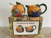 Vintage 1996 Cracker Barrel Colorful Gourd Sugar Bowl W/ Spoon And Lid And Creamer