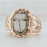 Carved Stone Scarab Egyptian Ring 14k Rose Gold Size 7.5 Statement