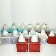 Vintage Lladro Christmas Bell Porcelain Ornaments Lot Of 14 - 1987 To 2000