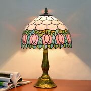 12 Inch Lamp Pink Tulip Sheet Den Rustic Stained Glass Night Light Home