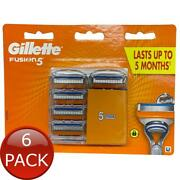 6 X Gillette Fusion Cartridges Manual 5 Pack Shave Razor Blade Refill Grooming