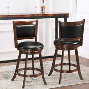 2 Pcs 24 Swivel Counter Stool Wood Dining Pub Chair Upholstered Seat Espresso
