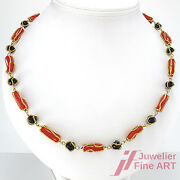 Necklace 750/18k Yellow Gold - Coral And Black Agate - Handmade 1.4oz - 23 5/8in