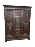 Lovely Antique French Gothic Storage Cabinet Armoire 19th Century Oak 11525