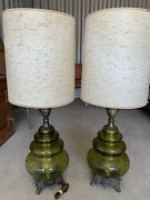 Mid Century Modern Glass Table Lamps Set Of 2 Heavy Rare