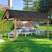 Eagle Peak 13andrsquo X 11andrsquo Solid Wood Patio Gazebo Cedar Framed With Black Steel Roof