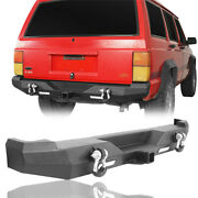 Rear Bumper W/ Receiver Hitch And D-rings And Led Lights For Jeep Cherokee Xj 84-01
