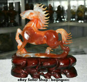 12 Chinese Natural Red Agate Carnelian Zodiac Horse Animal Success Sculpture