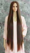 Super Long Straight Lace Front Human Hair Blend Wig Light Brown/blonde Evfr