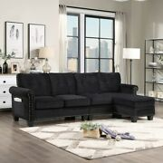 4-seat Upholstered Velvet With Scrolled Arm Sectional Sofa With Storage Ottoman