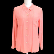 Cc Button Front Opening Long Sleeve Tops Shirt Pink 03271
