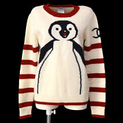 07a 38 Round Neck Long Sleeve Penguin Knit Sweater Ivory Red Ba01846g