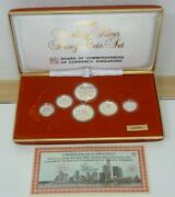 Singapore 1986 Sterling Silver 6-coin Proof Set 1cent - 1 Boxed + Coa