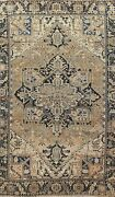 Muted Semi-antique Heriz Hand-knotted Geometric Area Rug Oriental 7and039x11and039 Carpet