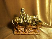 """Vintage Rare Mccoy Planter Brown Man On Horse By Watertrough 4x8"""" Mid-century"""