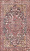Antique Heriz Geometric Hand-knotted Area Rug Evenly Low Pile Wool 7and039x11and039 Carpet