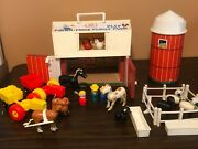 Vtg Fisher Price Little People 915 Play Family Farm Silo Tractors Animals Extras