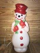 """Vintage Snowman Christmas Blow Mold Red Top Hat Scarf Lights Yard Decor 22.5"""""""