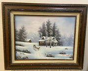 Oil On Canvas Painting By Van Bell Winter Scene Farmhouse Horse Sleigh 21x17and039and039