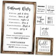 Farmhouse Bathroom Wall Decor Set Of 2 - Funny Bathroom Signs With Rules And