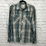 Buckle Bke Button Up Shirt Men Large Green White Plaid Athletic Fit Stretch