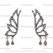 925 Sterling Silver Fancy Pave Diamond Charms Earring Victorian Handmade Jewelry