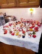 Vintage Flocked Christmas Ornaments 48 Pieces