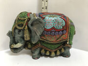 Vintage Figurine Statue Indian Elephant Hand Painted Plaster Solid Piece 5t