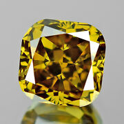 Olive Green Diamond 0.66 Cts Cushion Cut Fancy Untreated Top Luster See Video