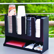 Upright Coffee Condiment Organizer Plastic Cup Dispenser For Home Office