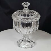 Decorative Crystal Cut Glass Vanity Apothecary Jar With Lid Pedestal Base