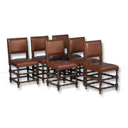 Set Of Six 19th Century Antique Barley Twist Dining Chairs With Original Leather