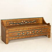 Antique Original Swedish Brown Painted Bench With Low Back