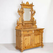 Pine Antique Sideboard Serving Buffet With Mirror