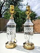 Set Of 2 Waterford Devon Pattern Fine Cut Crystal Table Lamps - Absolutely Mint
