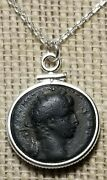 First Roman Emperor Augustus Authentic Ancient Coin Pendant 925 Silver Necklace