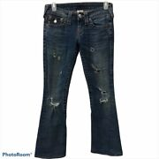 True Religion Joey Distressed Flare Jeans Low Rise Womens Size 24/00