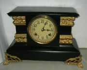 Antique New Haven Czarin Enameled Iron Case 8 Day Mantel Chime Clock Working