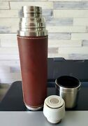 Starbucks 2003 Brown Leather Sleeve Barista Bullet Stainless Steel 16oz Thermos