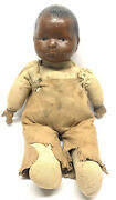 """Antique Effanbee Composition Pouty African American Boy Doll 12"""" Primitive"""